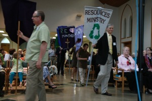The banner parade during my installation as minister of First Unitarian Church.